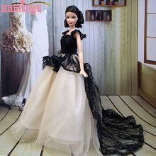 Buy Hamtoys Doll Dress Sexual Long Tail's Evening Gown Purely Manual Clothes Lace Wedding Dress Barbie Dolls Cute Wings