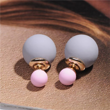 Modyle 2017 New High Quality Double Faced Stud Earrings for Women 19 Candy Colors Mix Women Korea Fashion Jewelry