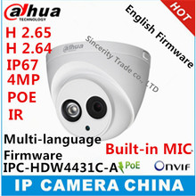 Dahua H2.65 IPC-HDW4431C-A Built-in MIC  HD 4MP IR 50m  network  IP Camera security cctv Dome Camera Support POE HDW4431C-A