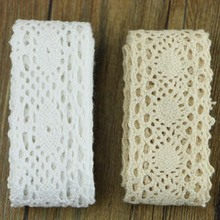 5 yards of white cotton lace lace fabric DIY cotton crochet lace belt weaving decorative fabric Material: Cotton(China)
