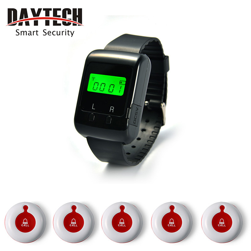 Wireless Call Button Buzzer 433MHZ Restaurant Hospital Waiter Calling System Service Wrist Watch Pager system()