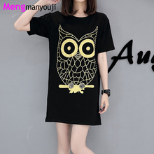 Summer Women Cotton T Shirt Dress Golden Owl Pattern O Neck Short Sleeve Loose Casual YL5308 Black Plus Size Dress Clothing(China)