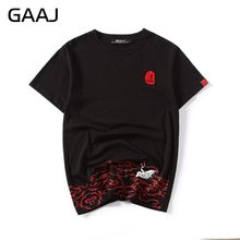 GAAJ embroidery Men T Shirts High Quality Male Chinese Japanese Style T-shirts For Man Funny O Neck Tees T Shirt Casual Tshirt