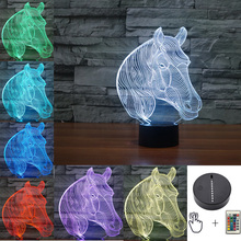 7 Colors Flash Animal Horse Led Nightlights 3D LED Bulb Desk Table Lamp USB touch Lava Baby Bedside Lamp RC Remote Toys novetly