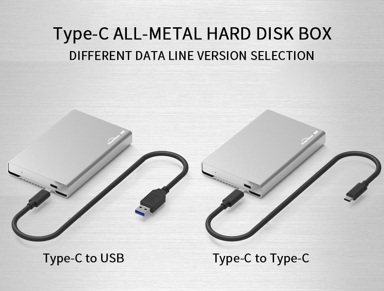 Aluminum external hard drive 1tb hdd case 2.5″ type C sata to usb 3.1 hdd 2.5 caddy 9.5mm hdd enclosure with external  hard disk