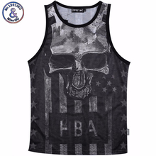 Men Summer Tank Tops Skull printing 3D Mesh Vest Jersey Sleeveless tee shirts For Men's Size M-XXL(China)