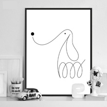 Modern contracted  Black White Lines Canvas A4 Art Print Poster Wall Pictures dog Family Living Room Home Deco Painting No Frame