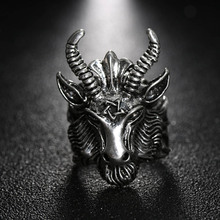 1 Pcs Fashion Punk Rock Style Ring Vintage Antique Silver Pentacle Satanic Goat Sheep Head Ring Men's Jewelry