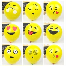 50pcs Latex Lucky Balloons Printed Expression Balls Pop Emoji Funny Ball for Children Globos Cute Air Balls Baloons M06(China)