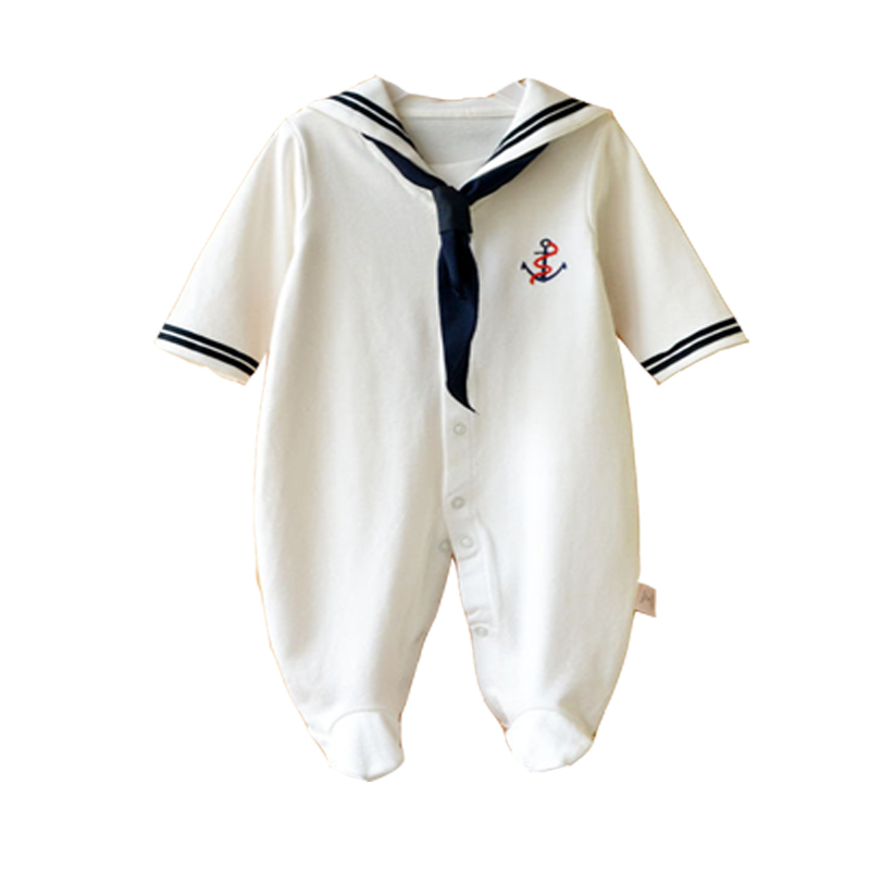 2017 Newborn Baby Girl Clothes New Fashion Child-Clothing Long Sleeve White Navy Sailor Baby Romper Infant Baby Boy Girl Ropmers