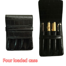 HIGH QUALITY LUXURY Crocodile Skin exquisite carving pattern PU BLACK ROLLER AND FOUNTAIN PENS CASE HOLDER FOR 4 PEN