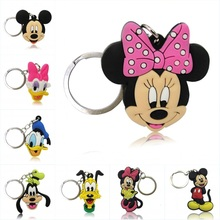 40pcs/lot Mickey Minnie Cartoon PVC Soft Charms +Keychain Keyrings Kids Gift Party Favors Key Covers Bag Straps Pendants Jewelry(China)