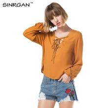 SINRGAN Women Chiffon Blouse Autumn Long Sleeve Lace Up Solid Tops Femme  Casual Deep V-Neck Shirts 3821bc9f4b28