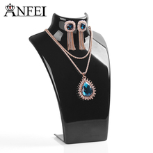 ANFEI Wholesale Black Acylic Necklace display shelf Stand Holder,Fashion Jewelry Display,sold per packet of 1 set=10PCS