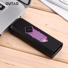 OUTAD 8 Colors Portable USB Rechargeable Lighter Flameless Cigar Cigarette Lighter Silent Windproof No Gas No oil Cigar Lighter(China)