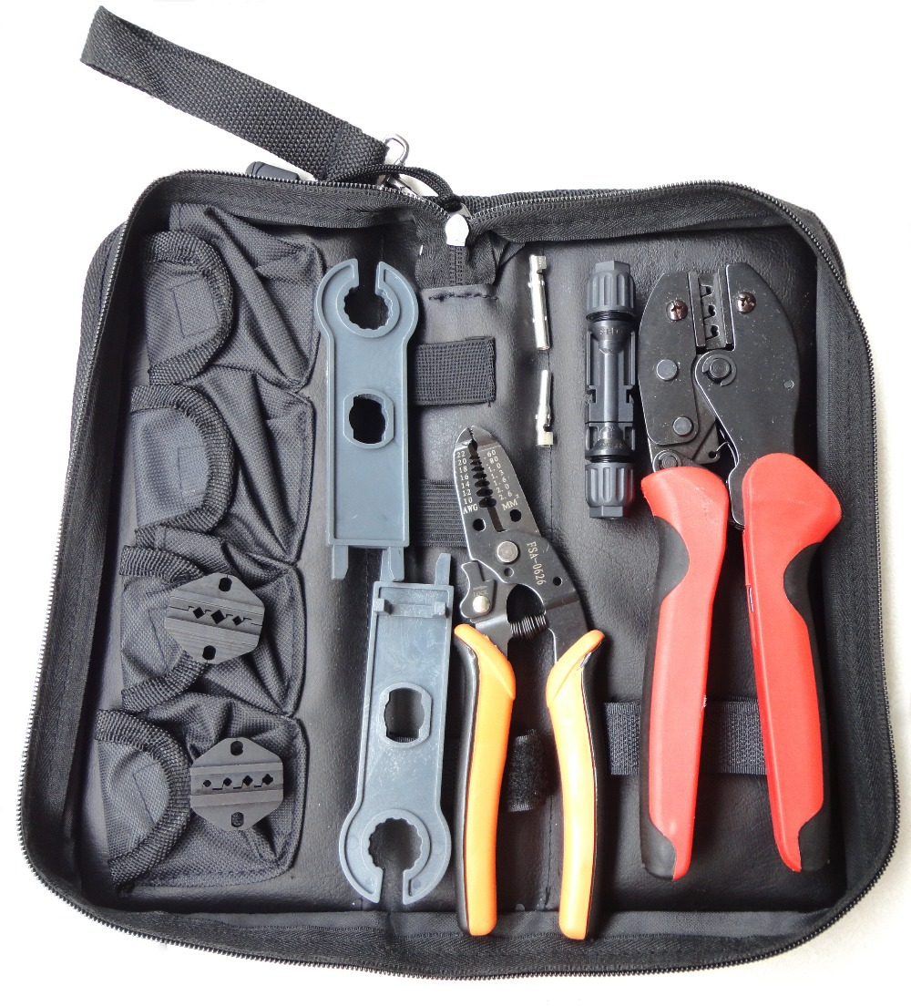 LY-K2546B-4 multi tool set contains crimping tool cable stripper MC4 connector MC3/TYCO dies MC4 spanner hand tool set<br>