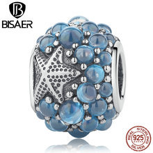 100% 925 Sterling Silver Blue Oceanic Starfish, Frosty Mint CZ Beads Fit BISAER Bracelets & Necklaces Jewelry EDC085(China)