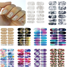 10pcs Manicure set Water Transfer stickers for nails Light Gray White Marble Stone Rock Wraps Full Cover nail art decorations(China)