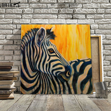 Colorful Zebra 100% Handpainted Oil Painting on Canvas Animal Zebra Canvas Art Painting for Living Room Home Decor Wall Art(Hong Kong)