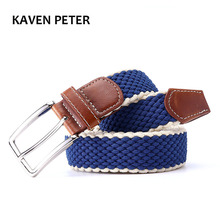 "Men's Fabric Leather Elastic Woven Stretch Belt 1-3/8"" Wide New Elastic Canvas Belt Men Casual Elastic Strap Silver Buckle(China)"