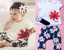 Toddler Newborn Baby Girl 3 Piece Summer  Clothes Suit Shor Sleeve T-shirt Headband+ Pants Sunflower Print Outfit