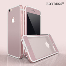 Roybens 360 Full Body Ultra Thin Shockproof Phone Cases for iPhone 6S Case for iPhone 6S Plus PC Soft Silicone + Tempered Glass