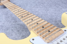 Vintage yellow cream Yngwie Malmsteen Scalloped maple fretboard Big Head ST 6 string electric guitarra in stock