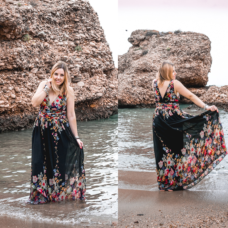 Sexy Double V-neck Sleeveless Black Long Flower Print Chiffon Formal Evening Dress 2020 Ever Pretty EP09016 Formal Gowns