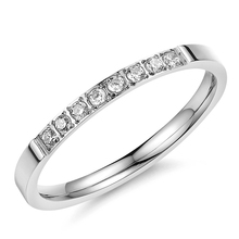 Stainless Steel Rings For Women With Pave Fashion CZ Stone Bright Sliver Tone In Hot Sale 2*1PC
