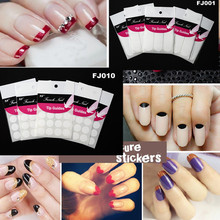 1 piece French Manicure Nail Art Form Fringe Guides Sticker DIY Stencil Decal Decoration Tools 18 styles for choose SAND071(China)