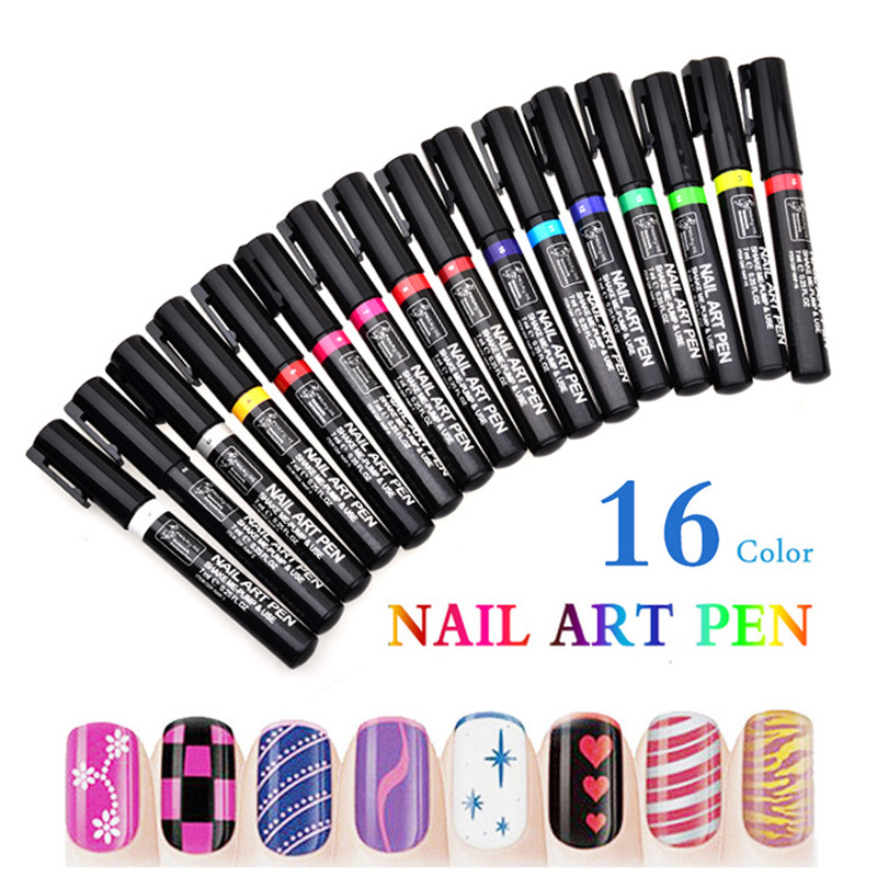 16 Colors Nail Art Pen 3D Nail Art DIY Decoration Nail Polish Pen Makeup Tools Nail Paint Pens(China)