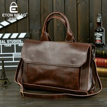 ETONWEAG Brands Italian Leather Briefcases Men Vintage Luxury Messenger Bags Brown Business Lawyer Briefcase Retro Shoulder Bags