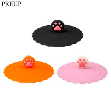 PREUP 3 colors paw Shape Anti-dust Silicone Glass Cup Cover Coffee Suction Seal Lid Cap Silicone Cup Cover