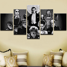 Canvas Painting Modern Art Live Wall Decor Pictures 5 Pieces Retro Black And white Movie Character Poster Landscape Oil Painting(China)
