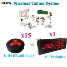 Pager Calling System Restaurant Order Device Electronics Long Distance Transmitter Wireless(1 display+ 15 call button)(China)