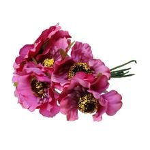 "Terylene Artificial Chrysanthemum Flower Decoration Millinery Fuchsia 11.0cm(4 3/8""),2 Bundles 2016 new"