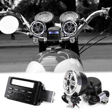Motorcycle Sound Audio Radio System Handlebar 12V Full-band FM Stereo 2 Speakers ATV Bike With 3.5mm AUX Jack to Link MP3 Device