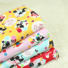 Half yard import fabric cute cat printing fabric, 100% cotton cloth for handmade DIY patchwork mouth gold package handbag CR-954