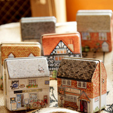 Free shipping New 2013 Zakka Mini house building painted tin box Children sugar box Children's Christmas gift recommendation