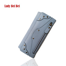 Long wallet female rivet pu leather purse cellphone wallet hot sale card holders famous brand designer new fashion(China)