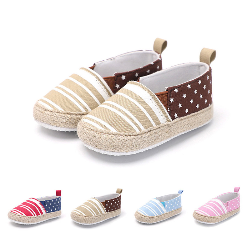 Baby Girl Shoes Toddler Infant Baby Girl Dot Striped Crib Shoes Soft Sole Anti-slip Single Shoes Baby First Walker Shoes M30#F (5)