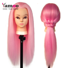 Training Head with makeup 65cm wonderful pink color hairdressing dolls head Female Mannequin Hairdressing Styling Mannequin Head(China)