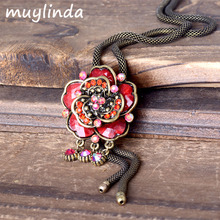 Retro Floral Flower Charm Necklace Jewelry Antique Women Sweater Necklace Long Chain Costume Accesories For Women(China)