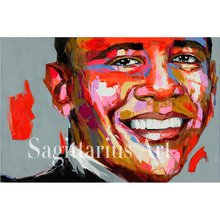 high quality Hand Painted designer Francoise Nielly Oil Painting Canvas Barack Obama Wall Home Decor Artwork Fine Art Bedroom(China)