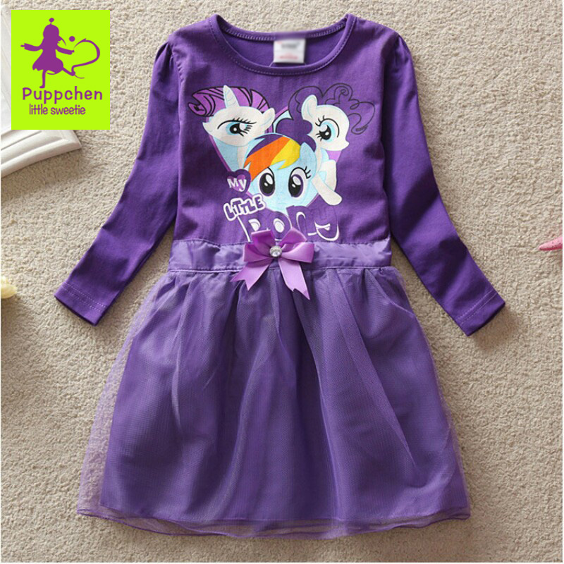 Puppchen new fashion style childrens clothing baby clothes cartoon little pony cotton dresses long sleeve for kids for girls<br><br>Aliexpress