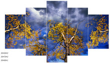 High Quality 5 Piece Canvas Art Modern Landscape Wall Painting Yellow Tree Photo Abstract Picture Home Decoration Oil Painting(China)