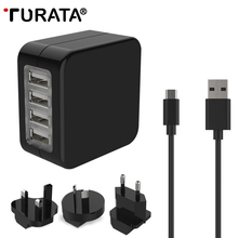 TURATA Universal Adapter 4 USB Port Travel Charger USB Socket World Travel AC Power Charger Adaptor with AU US UK EU Plug(China)