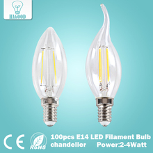 100pcs 2W 4W E14 220V 230V 240V LED Filament Bulb clear grass Edison light bulbs ceiling chandelier led bulb for Home Decoration