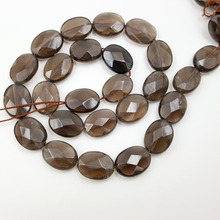 Wholesale Natural Stone Smoky Quartzs Oval Shape Faceted Beads Approx 8x10mm/12x16mm/13x18mm/15x20mm DIY Jewelry Market(China)