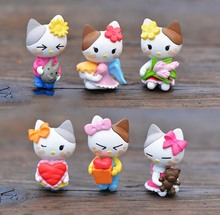 3pcs Mixed Resin flatbacks Mini Kawaii Hello Kitty Figurines DIY Craft Cartoon Crafts Miniature Fairy Garden Decor Micro Resina